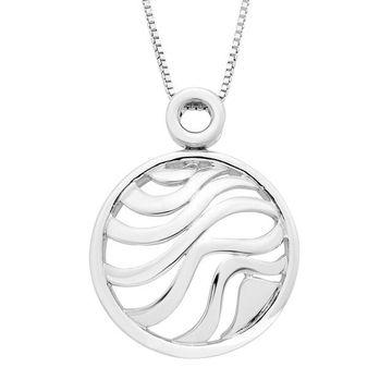 Boston Bay Diamonds Sterling Silver Round Wave Pendant