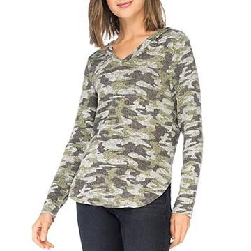 B Collection by Bobeau Camo-Print Brushed Knit Hoodie