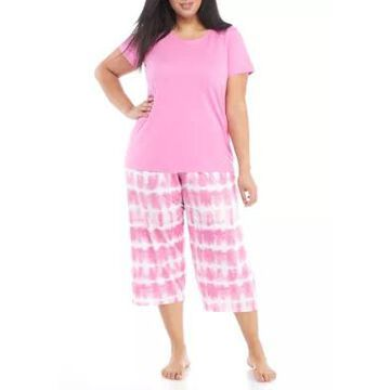 Hue Women's Plus Size Tie Dye Stripe Pajama Set - -