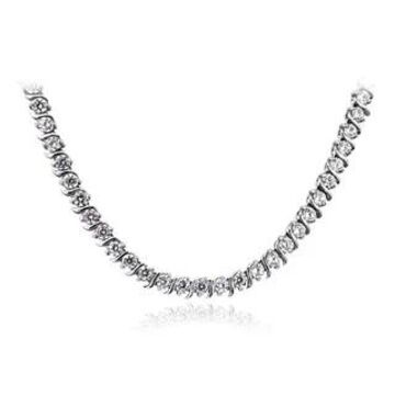 ICZ Stonez Sterling Silver 10 3/5ct TGW Cubic Zirconia S-design Tennis Necklace (White - Sterling Silver)