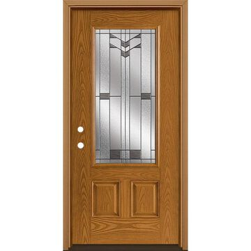 Masonite Frontier 36-in x 80-in Fiberglass 3/4 Lite Right-Hand Inswing Oakcrest Stained Prehung Single Front Door with Brickmould in Brown