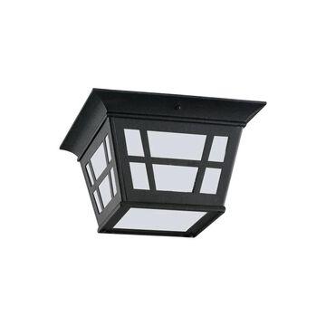 Sea Gull Lighting Herrington 10.75-in W Black Outdoor Flush Mount Light | 79131-12