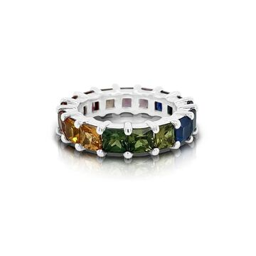 Noray Designs 14K Gold Rainbow Multicolor Sapphire (4MM) Eternity Ring