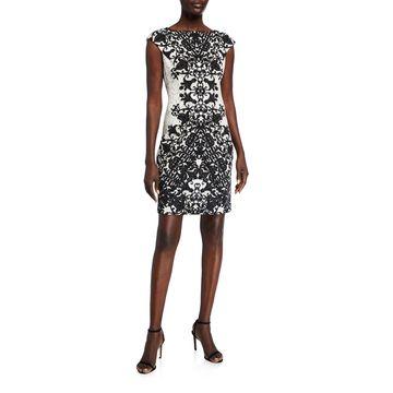 Filigree-Print Crepe Sheath Dress