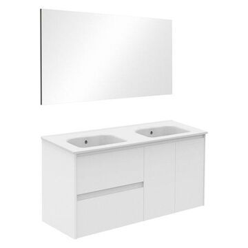Ambra 120 Double Complete Vanity Unit, Gloss White, With Mirror
