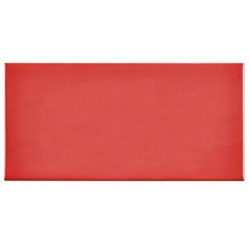 SomerTile 3x6-inch Malda Subway Glossy Apple Red Ceramic Wall Tile (136 tiles/19.18 sqft.)