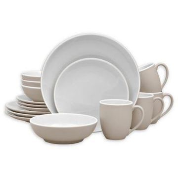 Noritake ColorTrio Coupe 16-Piece Dinnerware Set in Sand
