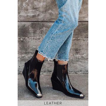Weston II Ebony Leather Wedge Ankle High Heel Boots | Lulus