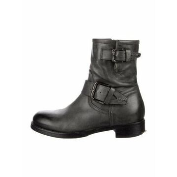 Leather Moto Boots Grey