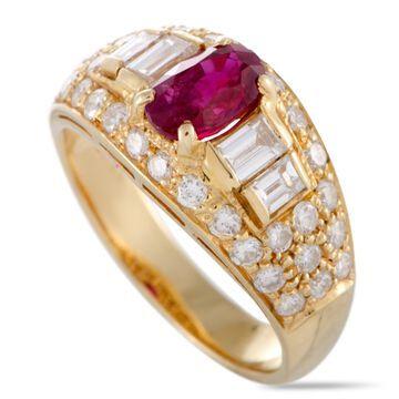 Bvlgari Yellow Gold Diamond and Ruby Band Ring