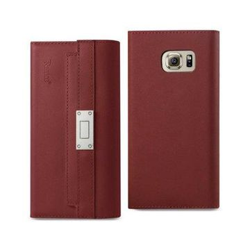 Samsung Galaxy S6 Genuine Leather Rfid Wallet Case And Metal Buckle Belt In Burgundy