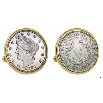 American Coin Treasures 1883 First-Year-of-Issue Liberty Nickel Goldtone Bezel Cuff Links