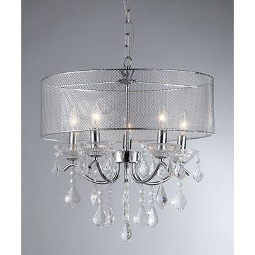 Warehouse of Tiffany Indoor Table Lamps Chrome - Crystal Five-Light Chandelier