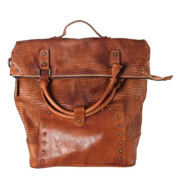 Diophy Genuine Leather Archaic Piece Cutting 3 Ways Use Large Bag