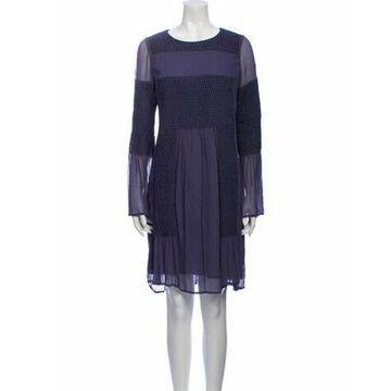 Colorblock Pattern Knee-Length Dress Blue
