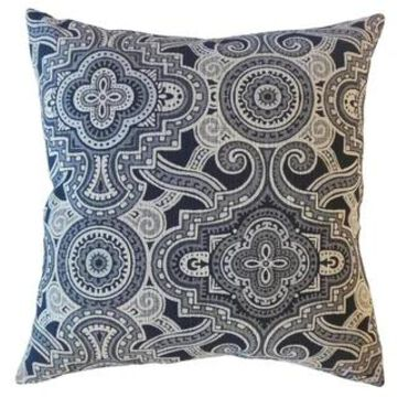 The Pillow Collection Jacory Geometric Decorative Throw Pillow (Navy - 22 x 22 - Square)