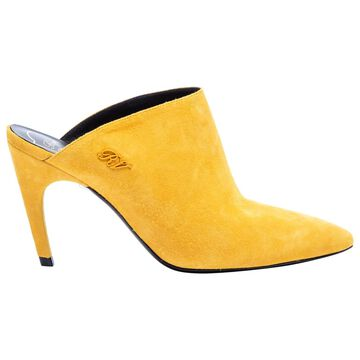 Roger Vivier Yellow Suede Mules & Clogs