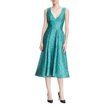 Deep-V Floral-Jacquard Structured Midi Cocktail Dress