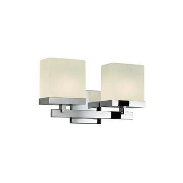 Sonneman Lighting Cubist 2-Light Bath Bar (Polished Chrome, White)