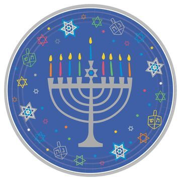 Amscan Hanukkah Eight Happy Nights Round 10.5 in. Paper Plates in Blue