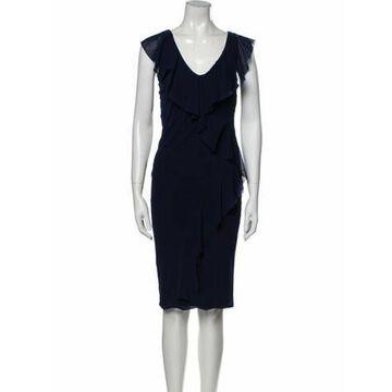 V-Neck Midi Length Dress Blue