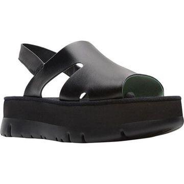 Camper Women's Oruga Up Slingback Sandal Black Smooth Satin Leather