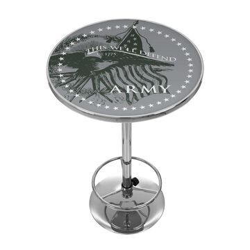 Trademark Gameroom Pub Tables Chrome Round Bar Table, Composite with Metal Metal Base | ARMY2000-DEFEND