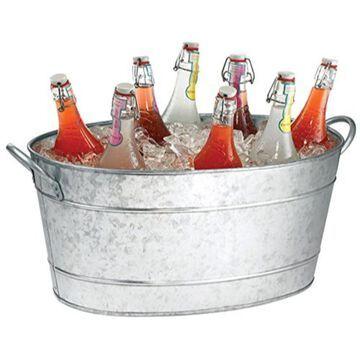 Benzara Galvanized Beverage Tub With Handles, Gray