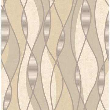 Brewster Geometric Taupe Gille Wallpaper