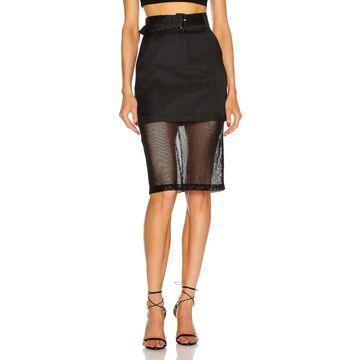 fleur du mal Sheer Pencil Skirt in Black | FWRD