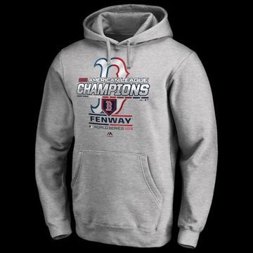 Majestic MLB League Champ Pullover Hoodie - Boston Red Sox - Athletic Heather Grey, Size One Size