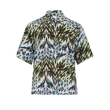 Aries - Animal Hawaiian Print Short Sleeved Shirt - Mens - Blue Multi