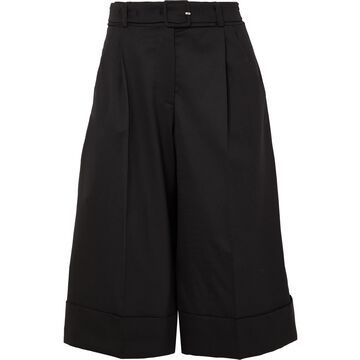 SIMONE ROCHA - Belted Feather-trimmed Wool-blend Shorts - Black