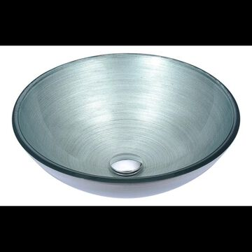"Anzzi LS-AZ283 Posh 16-1/2"" Glass Vessel Bathroom Sink - Pop-Up Drain Included Brushed Silver Fixture Lavatory Sink Glass"