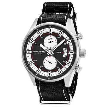 Stuhrling Original Men's Quartz Dual Time Black Canvas Strap Watch (Stuhrling Original Men's Watch)