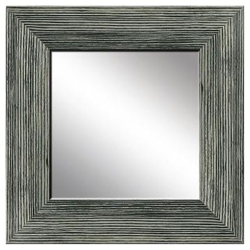 Square Natural Recovered Wood Decorative Wall Mirror Gray - PTM Images