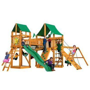 Gorilla Playsets Pioneer Peak Wood Swing Set w/ Green Vinyl Canopy, 22 ft. 6 in. x 23 ft. x 11 ft., Ages 3-11, 01-0006-AP-1