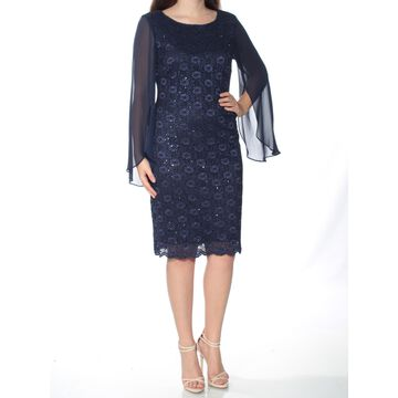 CONNECTED APPAREL Womens Navy Sequined Bell Sleeve Jewel Neck Knee Length Sheath Formal Dress Size: 6