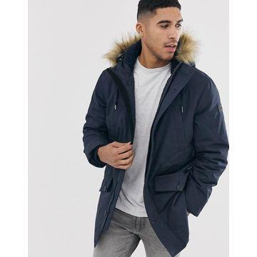 Farah Bolton fleece lined hooded parka in navy