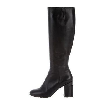 Leather Knee-High Boots Black