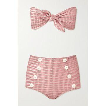 Lisa Marie Fernandez - Poppy Knotted Seersucker Bikini - Baby pink