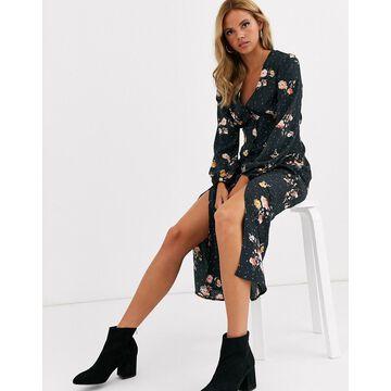 Miss Selfridge midi dress in black floral