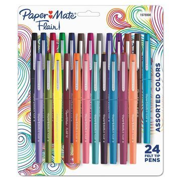 Paper Mate Point Guard Flair Bullet Point Stick Pen Assorted Colors .7mm 24/Set