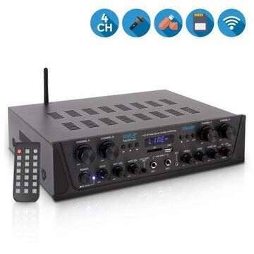 PYLE PTA44BT - Bluetooth Home Audio Amplifier, 4-Ch. Audio Source Stereo Receiver System with FM Radio, MP3/USB/SD/AUX Playback (500 Watt)