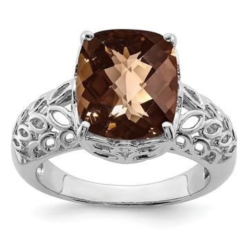 Sterling Silver Rhodium-plated Checker-cut Smoky Quartz Ring by Versil (7)
