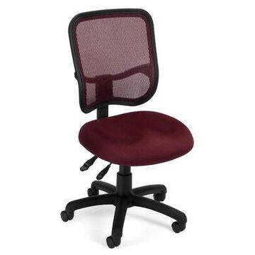 OFM Comfort Series Ergonomic Mesh Swivel Armless Task Chair, Mid Back, Wine (130-A03) | Quill