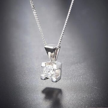 Divina 14KT White Gold 1/6ct TDW Certified Diamond Solitaire Pendant