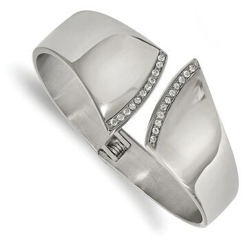 Chisel Stainless Steel Polished with Cubic Zirconia Hinged Bangle (7 Inch - White)