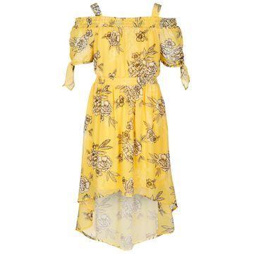 Big Girls Smocked Cold Shoulder Floral-Print Dress, Created for Macy's