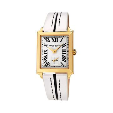 Valentina 1064 Rectangular Goldtone Stainless Steel & Leather-Strap Watch